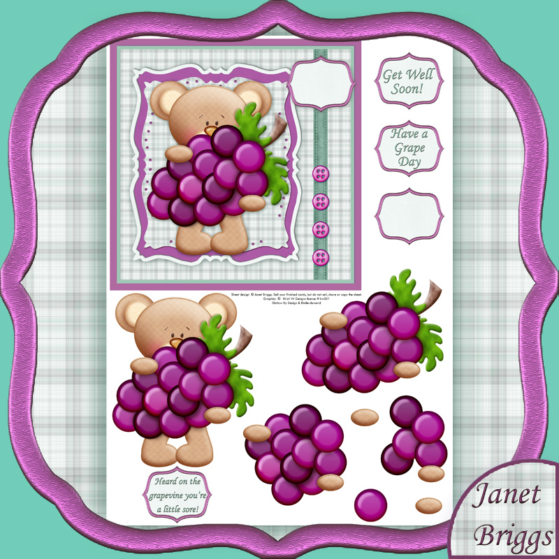 GET WELL GRAPES Decoupage Printed sheet 459kw