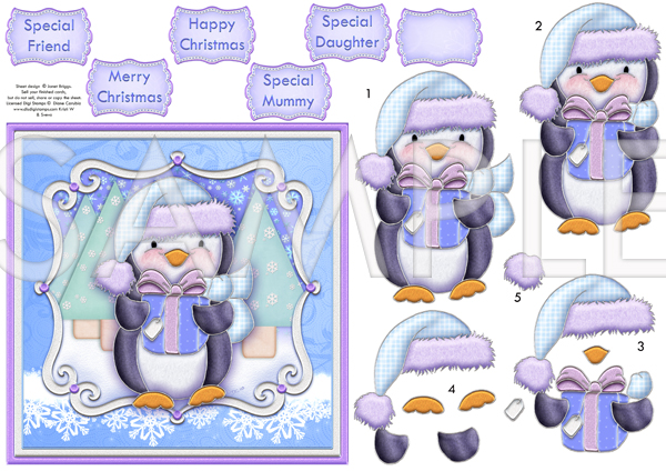 Penguin Gift Christmas Decoupage Printed Sheet 559dd
