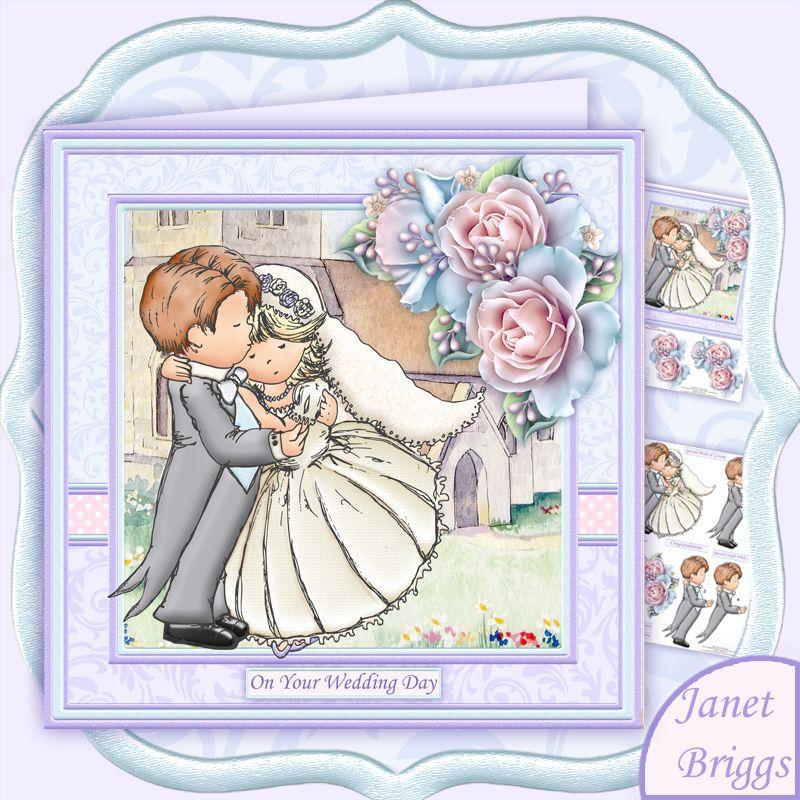 Wedding Day Bride Amp Groom Hugs 8x8 Decoupage Card Making