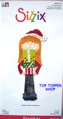 CHRISTMAS GIRL W/ PRESENTS SIZZIX SIZZLITS MEDIUM SINGLE DIE