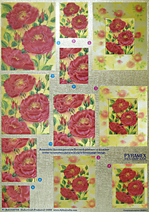 DUFEX PYRAMEX DECOUPAGE SHEET * ROSES *