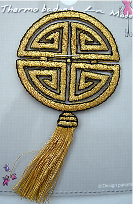 EMBROIDERED APPLIQUE MOTIF - GOLD ORIENTAL ICON