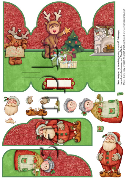 GATEFOLD POP UP CLAUS FAMILY CHRISTMAS  digital download