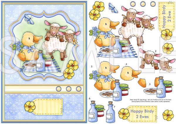 HAPPY BIRDY 2 EWE Topper \u0026 Decoupage Printed sheet 552ep