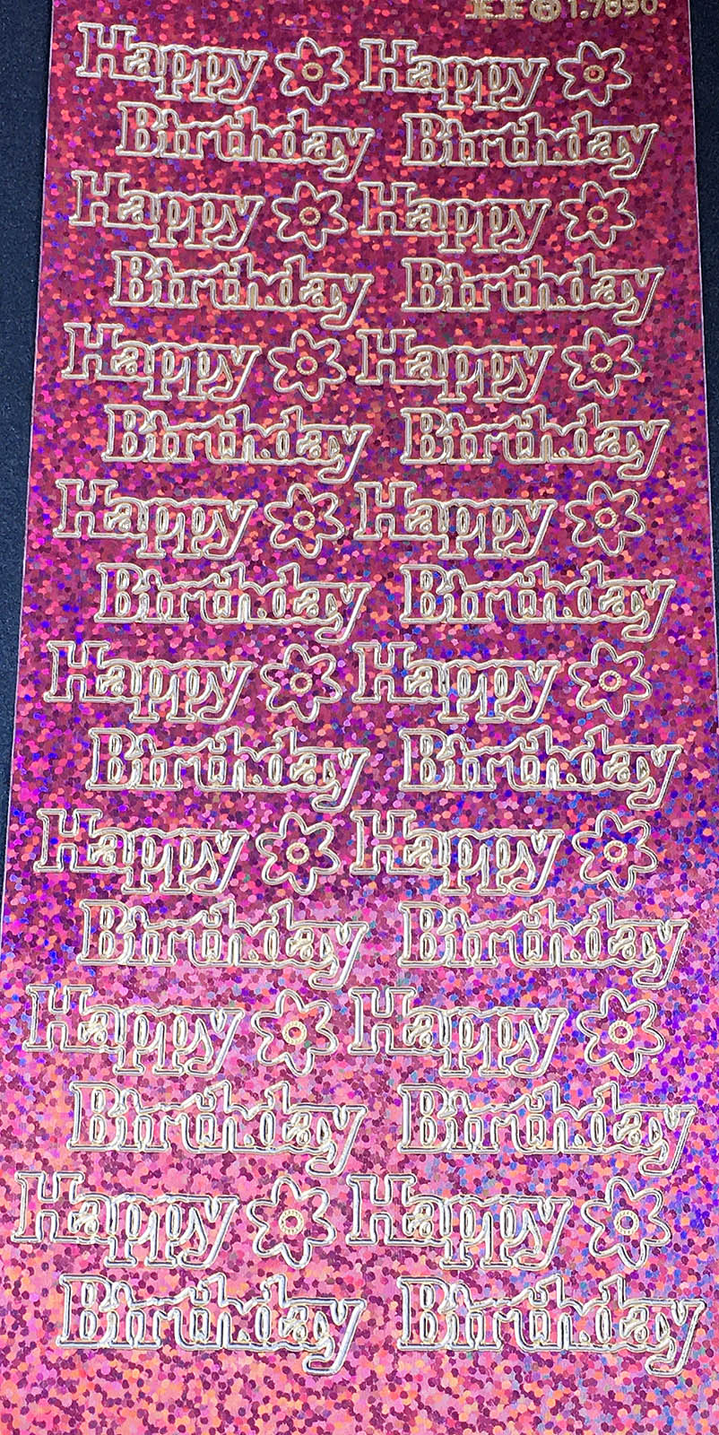 HAPPY BIRTHDAY large, HOLOGRAPHIC PINK PEEL OFF STICKERS 837
