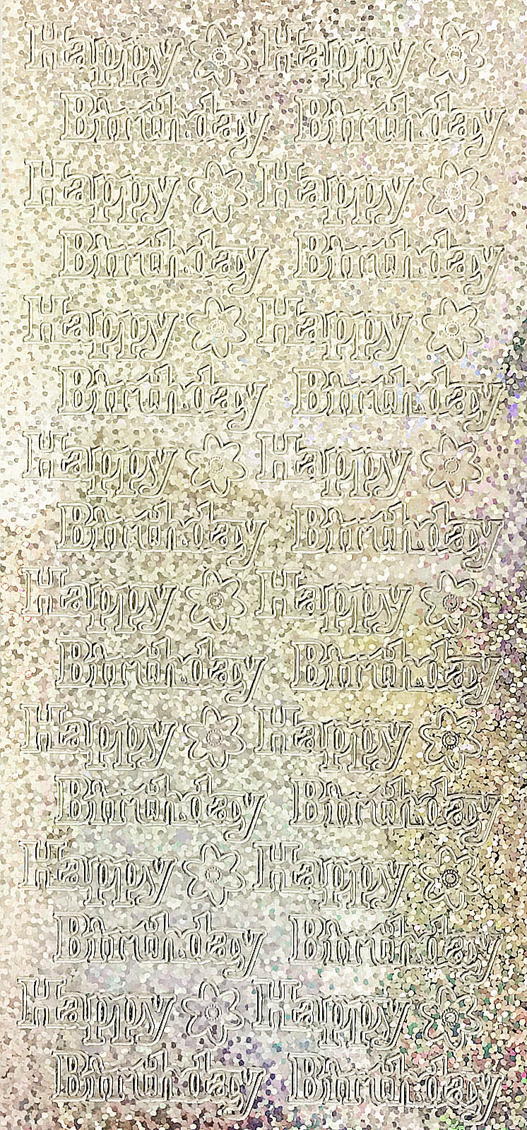 HAPPY BIRTHDAY large, HOLOGRAPHIC SILVER PEEL OFF STICKERS 837