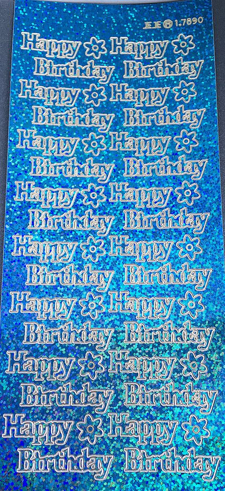 HAPPY BIRTHDAY large, HOLOGRAPHIC TURQUOISE PEEL OFF STICKERS 1.7890