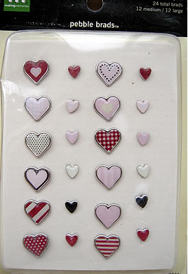 MAKING MEMORIES PEBBLE BRADS ' HEARTS, RED & PINK'