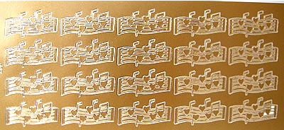 MUSICAL HEARTS GOLD PEEL OFF STICKERS em403