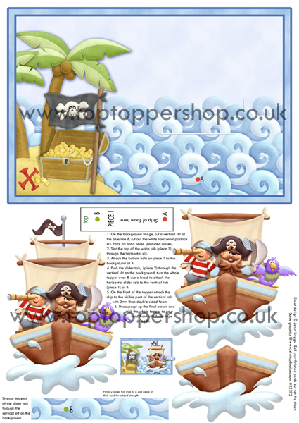Pirate Life Animated Moveable Decoupage printed sheet nw419