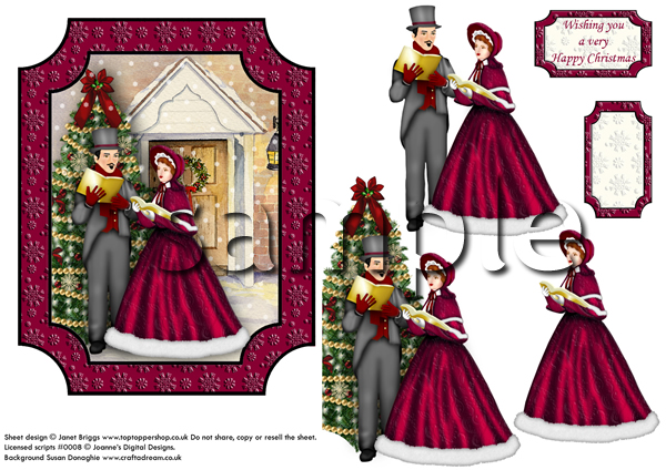Christmas Toppers For Card Making.Vintage Christmas Carollers Card Topper Decoupage Digital Download