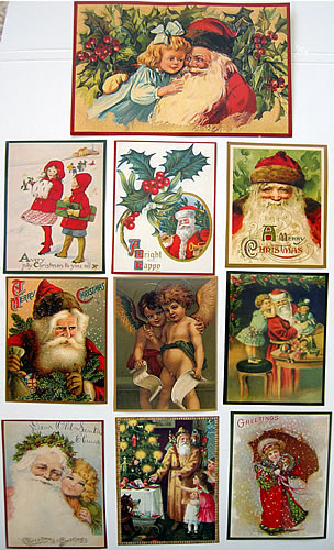 VINTAGE CHRISTMAS STICKERS pack of 10