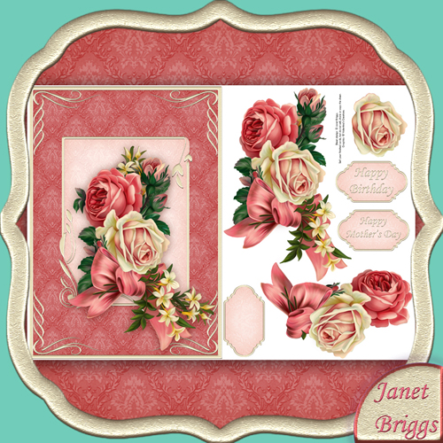 VINTAGE ROSES Card Front & Decoupage printed sheet 429vc