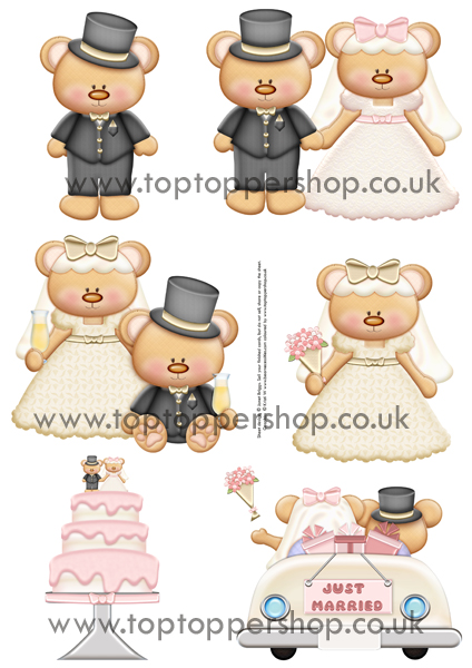 WEDDING BEARS Clipart Printed Sheet kw26