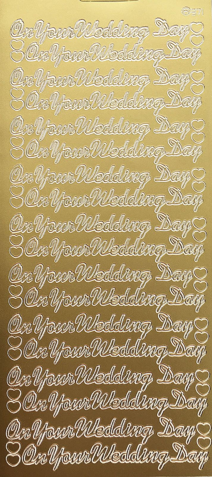 WEDDING DAY GOLD PEEL OFF STICKERS j371