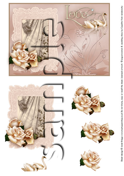 WEDDING DRESS card topper and decoupage sheet